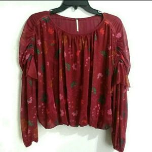 NWT Free People floral long sleeve top sz XS
